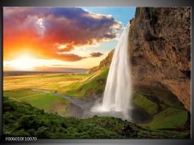 Glas schilderij Waterval | Groen, Oranje, Geel