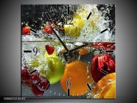 Wandklok op Canvas Fruit | Kleur: Grijs, Oranje | F006015C