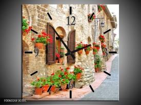 Wandklok op Canvas Vakantie | Kleur: Creme, Rood, Bruin | F006026C
