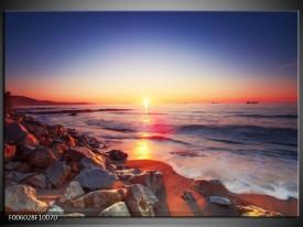 Glas schilderij Zonsondergang | Rood, Oranje, Grijs