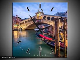 Wandklok op Canvas Venetie | Kleur: Blauw, Groen, Bruin | F006032C