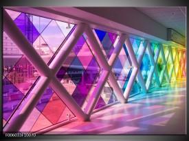 Glas schilderij Modern | Paars, Roze, Geel