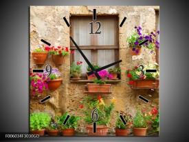 Wandklok op Glas Huis   Kleur: Groen, Bruin   F006034CGD