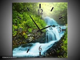 Wandklok op Glas Waterval | Kleur: Groen, Grijs | F006043CGD