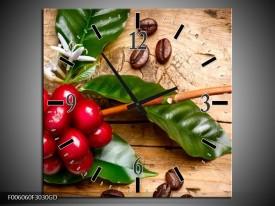 Wandklok op Glas Keuken | Kleur: Rood, Groen, Bruin | F006060CGD