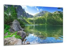 Canvas schilderij Meer | Groen, Blauw, Grijs | 120x70cm 1Luik