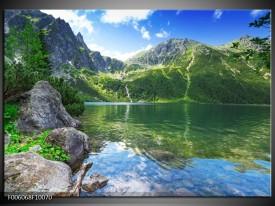 Glas schilderij Meer | Groen, Blauw, Grijs