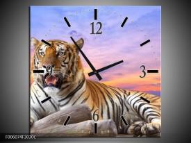 Wandklok op Canvas Tijger | Kleur: Bruin, Wit, Blauw | F006074C