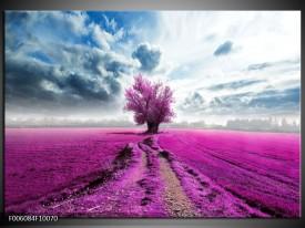 Glas schilderij Boom | Paars, Roze, Grijs
