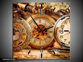 Wandklok op Canvas Klok | Kleur: Bruin, Creme, Oranje | F006085C