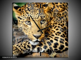 Wandklok op Glas Luipaard | Kleur: Bruin, Zwart | F006093CGD