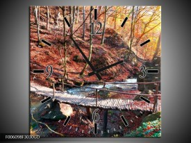 Wandklok op Glas Herfst | Kleur: Geel, Bruin | F006098CGD