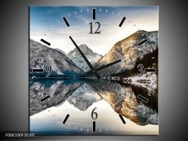 Wandklok op Canvas Bergen | Kleur: Grijs, Blauw | F006100C