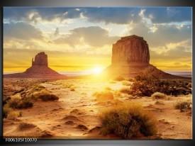 Glas schilderij Zonsondergang | Bruin, Geel