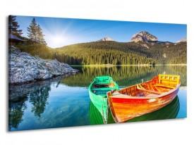 Canvas schilderij Bergen | Oranje, Groen | 190x100cm 1Luik