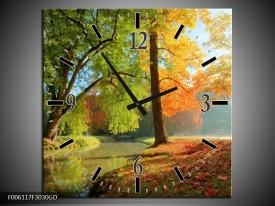 Wandklok op Glas Herfst | Kleur: Oranje, Bruin, Groen | F006117CGD