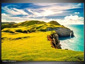 Glas schilderij Bergen   Groen, Blauw, Wit