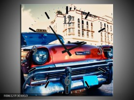 Wandklok op Glas Oldtimer | Kleur: Rood, Wit, Blauw | F006127CGD