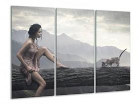 Glas schilderij Vrouw | Grijs | 120x80cm 3Luik