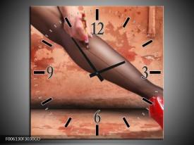 Wandklok op Glas Schoen | Kleur: Rood, Bruin | F006130CGD