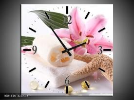Wandklok op Glas Spa | Kleur: Roze, Wit | F006138CGD