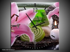 Wandklok op Glas Spa   Kleur: Roze, Groen   F006140CGD