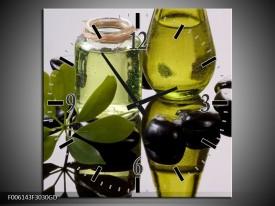 Wandklok op Glas Olijven | Kleur: Groen, Grijs | F006143CGD