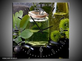 Wandklok op Glas Olijven | Kleur: Groen, Zwart | F006144CGD