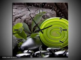 Wandklok op Glas Spa | Kleur: Groen, Zwart | F006146CGD