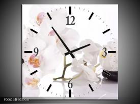 Wandklok op Glas Orchidee | Kleur: Wit, Zwart | F006154CGD