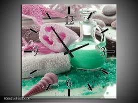 Wandklok op Glas Spa | Kleur: Groen, Roze | F006156CGD