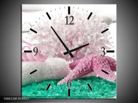Wandklok op Glas Spa | Kleur: Roze, Groen | F006158CGD