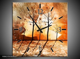 Wandklok op Glas Abstract | Kleur: Bruin, Oranje, Geel | F006175CGD