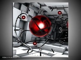 Wandklok op Glas Modern   Kleur: Rood, Grijs, Zwart   F006177CGD