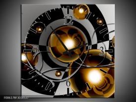 Wandklok op Glas Modern | Kleur: Goud, Zwart, Grijs | F006178CGD