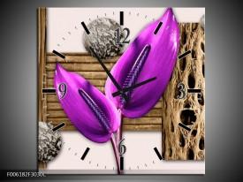 Wandklok op Canvas Modern | Kleur: Paars, Roze, Bruin | F006182C