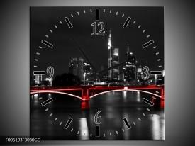 Wandklok op Glas Brug | Kleur: Rood, Grijs | F006193CGD