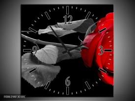 Wandklok op Canvas Roos   Kleur: Rood, Zwart   F006194C