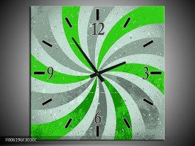 Wandklok op Canvas Abstract | Kleur: Groen, Grijs | F006196C