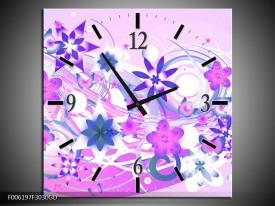 Wandklok op Glas Abstract   Kleur: Roze, Paars, Wit   F006197CGD