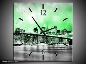 Wandklok op Glas Brug | Kleur: Grijs, Groen | F006202CGD
