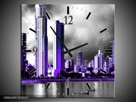 Wandklok op Glas Wolkenkrabber | Kleur: Paars, Grijs | F006204CGD