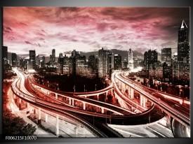 Glas schilderij Wolkenkrabber | Rood, Roze, Grijs