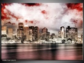 Glas schilderij Wolkenkrabber   Grijs, Rood, Bruin