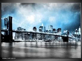 Glas schilderij Brug | Blauw, Grijs
