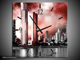 Wandklok op Glas Wolkenkrabber | Kleur: Rood, Grijs | F006225CGD
