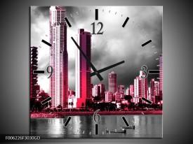 Wandklok op Glas Wolkenkrabber | Kleur: Roze, Grijs, | F006226CGD