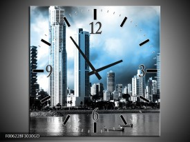 Wandklok op Glas Wolkenkrabber | Kleur: Blauw, Grijs | F006228CGD