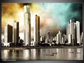 Glas schilderij Wolkenkrabber | Bruin, Sepia, Groen