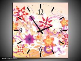 Wandklok op Glas Abstract | Kleur: Roze, Paars, Oranje | F006234CGD